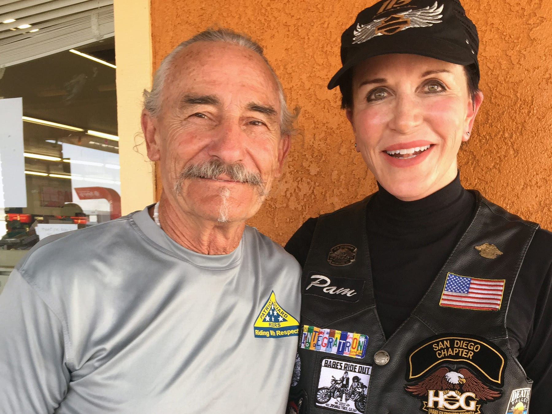 Pamela Barnett and her friend Harri Fenske of San Diego rode from San Diego to El Centro, Calif. They had planned to go to Scottsdale, Ariz., with the rest of the group but decided to return after hearing about possible bad weather in Arizona.