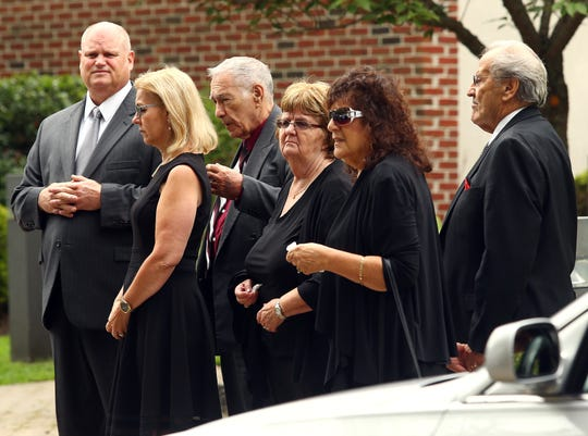 Family members at St. Clement Pope and Martyr Church in Dover for the funeral mass of Rockaway Mayor Michael Dachisen. August 21, 2018, Dover, NJ
