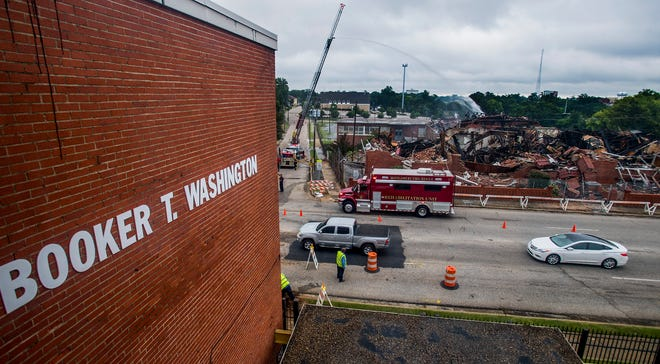 The rubble left after the fire at Booker T. Washington Magnet School in Montgomery, Ala. as seen on Tuesday August 21, 2018.