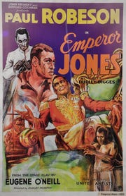 A 1933 Paul Robeson movie poster featuring Emperor Jones will be in the National Museum of African American Music Tuesday Aug. 21, 2018, in Nashville, Tenn.