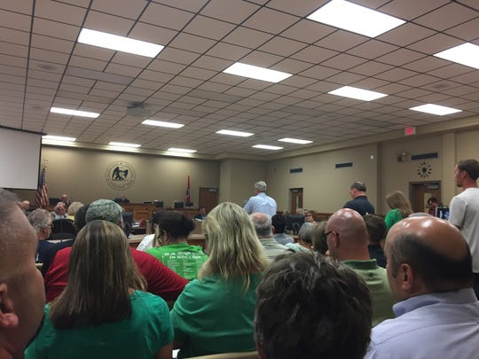 A number of residents lined up at a packed Wilson County Commission public hearing  meeting on Aug. 20, 2018, to discuss a proposed new high school in Mt. Juliet that had funding  approved during the scheduled meeting.