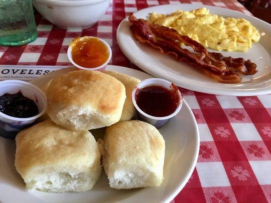 Biscuits and scrambled eggs and bacon at Loveless Cafe on Highway 100 in Bellevue