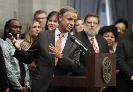 Tennessee Gov. Bill Haslam announces a statewide tour to hear ideas to improve the state's problem-plagued elementary and secondary school online testing process Tuesday, Aug. 21, 2018, in Nashville, Tenn. The tour will include six stops statewide for teachers, administrators and technology and assessment coordinators to discuss recent problems administering the tests and offer ideas for improvements.