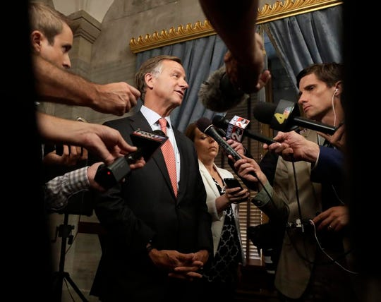 Tennessee Gov. Bill Haslam answers questions after announcing a statewide tour to hear ideas to improve the state's problem-plagued elementary and secondary school online testing process Tuesday, Aug. 21, 2018, in Nashville, Tenn. The tour will include six stops statewide for teachers, administrators and technology and assessment coordinators to discuss recent problems administering the tests and offer ideas for improvements.