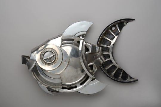 """Ptolemy Erlington, """"Metal Hubcap Fish,"""" 2011"""