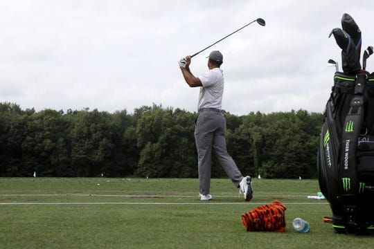 Tiger Woods is shown at the driving range at Ridgewood Country Club in Paramus. Tuesday, August 21, 2018