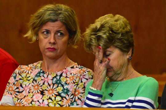 """The family of Edwin Lane, from left, Sharon Magner, daughter, and Mary """"Maureen"""" Lane, widow, at the detention hearing for Shawn Kelly before Judge Justine Niccollai, in Paterson on Tuesday August 21, 2018."""