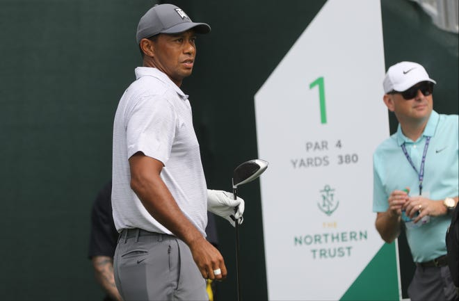 Tiger Woods is shown during a practice round at Ridgewood Country Club in Paramus. Tuesday, August 21, 2018