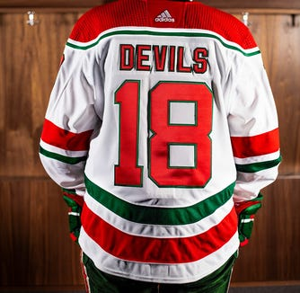 Devils heritage jersey nameplate for the 2018-19 season.