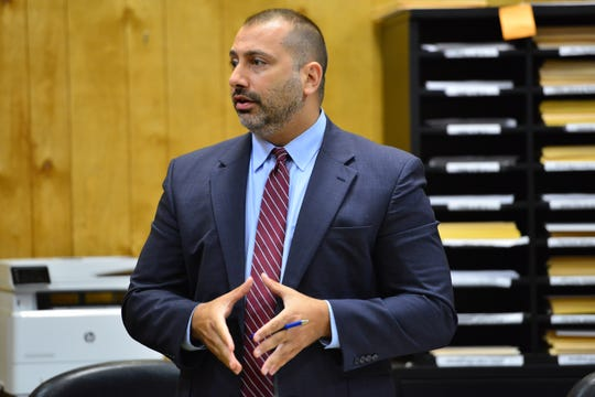 Jason Statuto, Assistant Passaic County Prosecutor, makes the case to keep Shawn Kelly in jail during the detention hearing before Judge Justine Niccollai, in Paterson on Tuesday August 21, 2018.