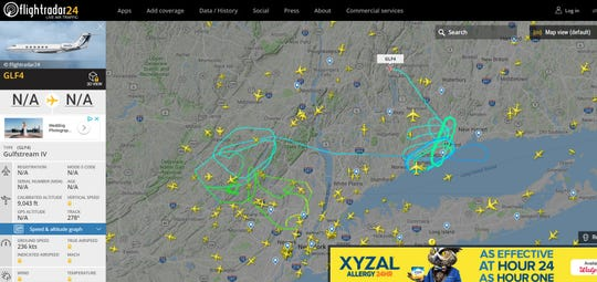 Live flight data shows the diverted plane heading towards a different airport.