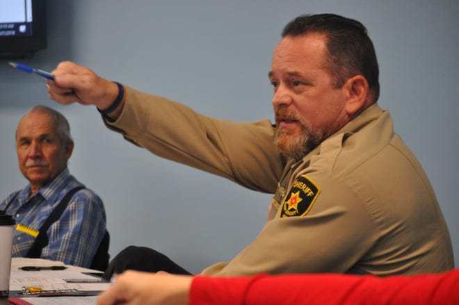 Eddy County Sheriff Mark Cage expresses frustration Aug. 21 during a special meeting of the Eddy County Board of Commissioners following an ask for more funds to ensure deputies remain at the department.