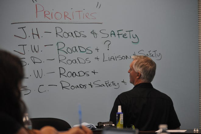 County Manager Rick Rudometkin lists Eddy County priorities as stated by Board of Commissioner members Aug. 21 at a special meeting in Carlsbad.