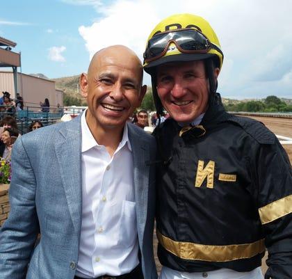 Jockeys Mike Smith and G.R. Carter