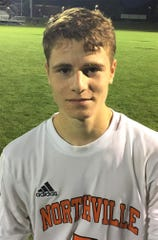 Northville senior Adam Silberg nearly had the game-winner for the Mustangs in the second half.