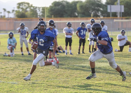 The Cathedral City High School football team practices, August 15, 2018
