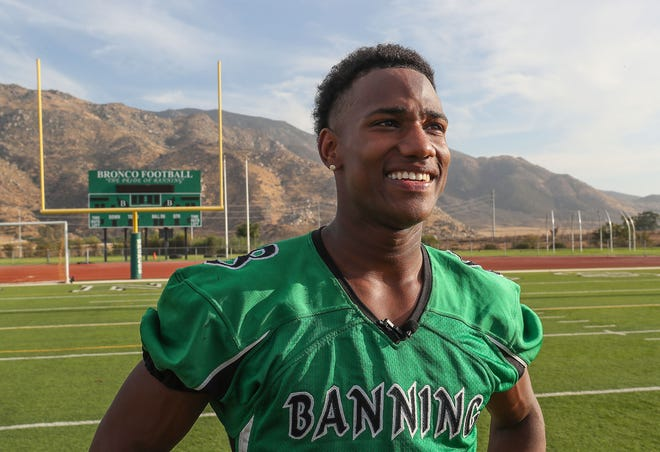 Taron Madison is a running back for the Banning Broncos, August 20, 2018.