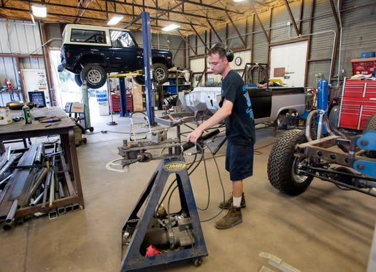 Jordon Gann fabricates a roll bar system for a Ford Bronco restoration at Velocity Restorations in Warrington on Tuesday, Aug. 21, 2018. Velocity Restorations is a Pensacola-based automotive company that specializes in restoring the classic Ford truck to new condition.