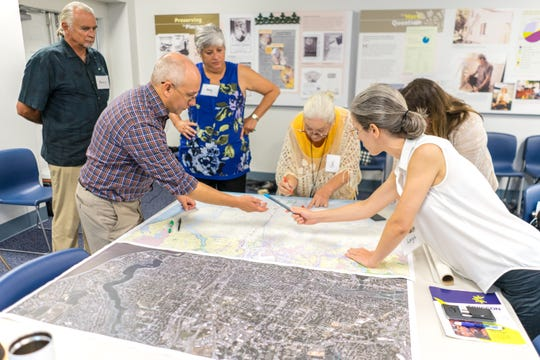 CivicCon speaker Gena Wirth and two colleagues from SCAPE collaborated with a group of local biologists, architects, conservationists, city and county staff and environmental attorneys about their desires for the waterfront in a CivicCon workshop on Tuesday, Aug. 21, 2018.
