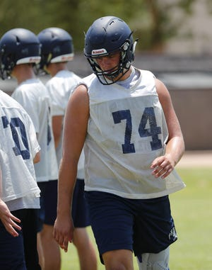 Perry High OL Brayden Rohme lines up for a drill during practice in Gilbert August 1, 2018.