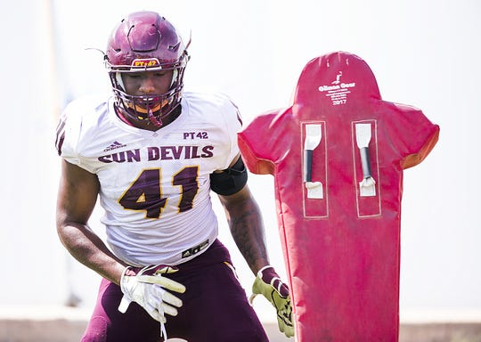 Arizona State University linebacker Tyler Johnson works out at practice in Tempe, Tuesday, August 21, 2018.