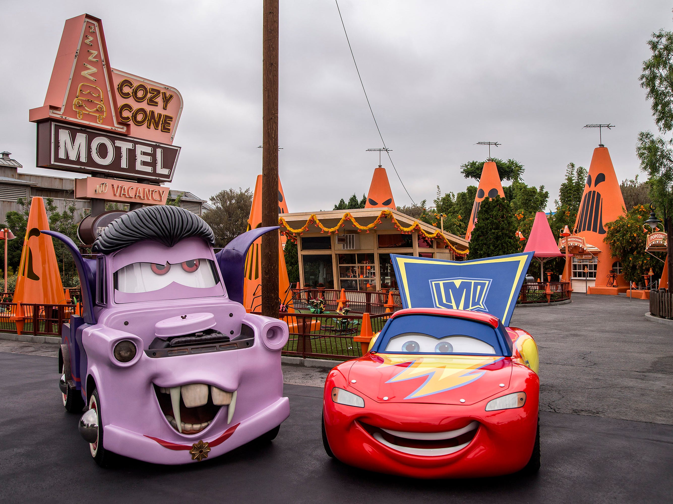 "The Cars characters will be donning their Halloween ""car-stumes"" as they greet guests and prepare to go ""trunk-or-treating."" Mater will be wearing his vampire or ""van-pire"" outfit, while Lightning McQueen is dressed as a super hero."