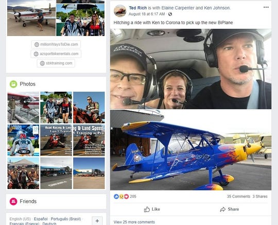 Ted Rich (left) with Elaine Carpenter in a FaceBook post from Aug. 18. The post said they were picking up the airplane involved in Monday's crash.