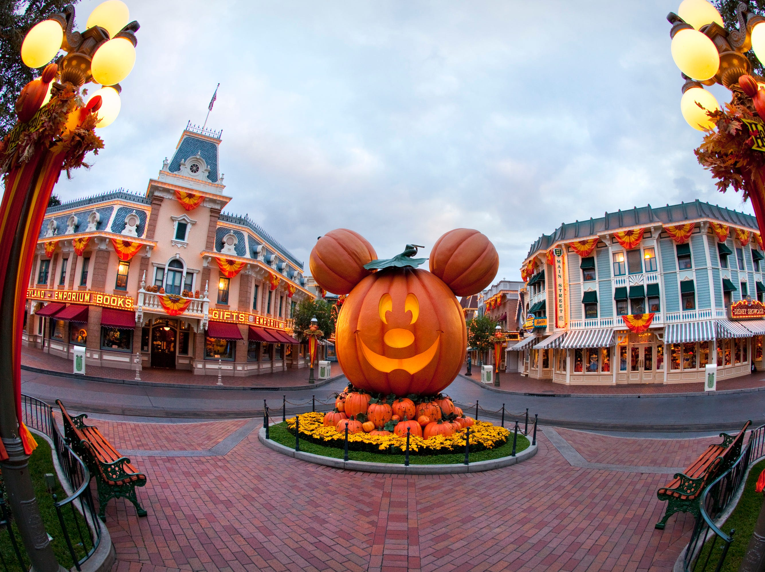 A Mickey Mouse-inspired jack-o'-lantern on Main Street, U.S.A., celebrates the spirit of the Halloween season at Disneyland Park.