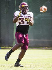 Arizona State University defensive back Joey Bryant catches a pass during practice in Tempe, Tuesday, August 21, 2018.