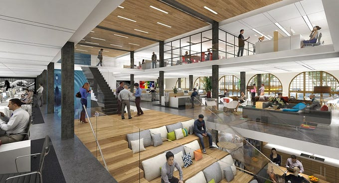 A rendering of the Herald Examiner's interior shows how Arizona State University plans to activate the historic site while modernizing its feel for students.