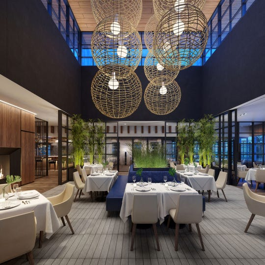 A rendering of the atrium in the main dining room of the forthcoming Ocean 44 in Scottsdale.