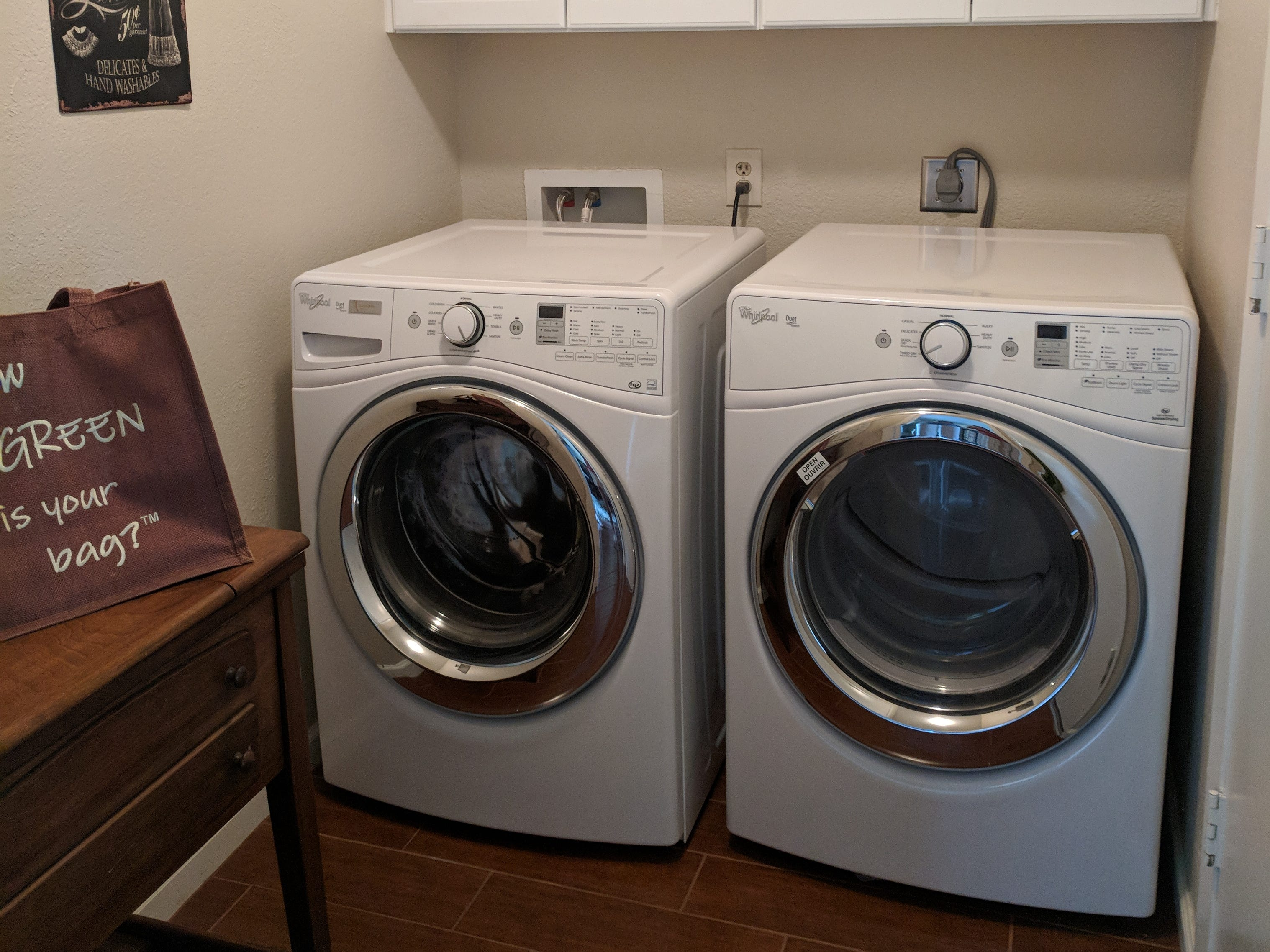 Green gutted her laundry room after finding mold in the walls, and outfitted the new room with a water-saving, front-loading washer and dryer set.