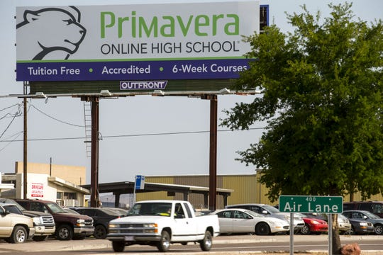 A billboard for Primavera Online High School is pictured on Aug. 8, 2018, in Phoenix.