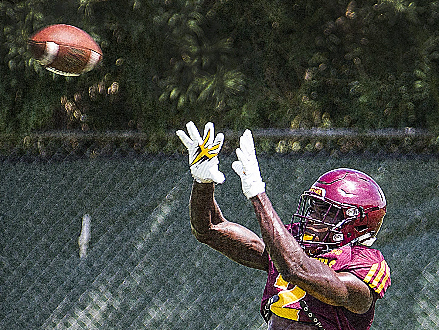 Arizona State University receiver Brandon Aiyuk catches a pass at practice in Tempe, Tuesday, August 21, 2018.