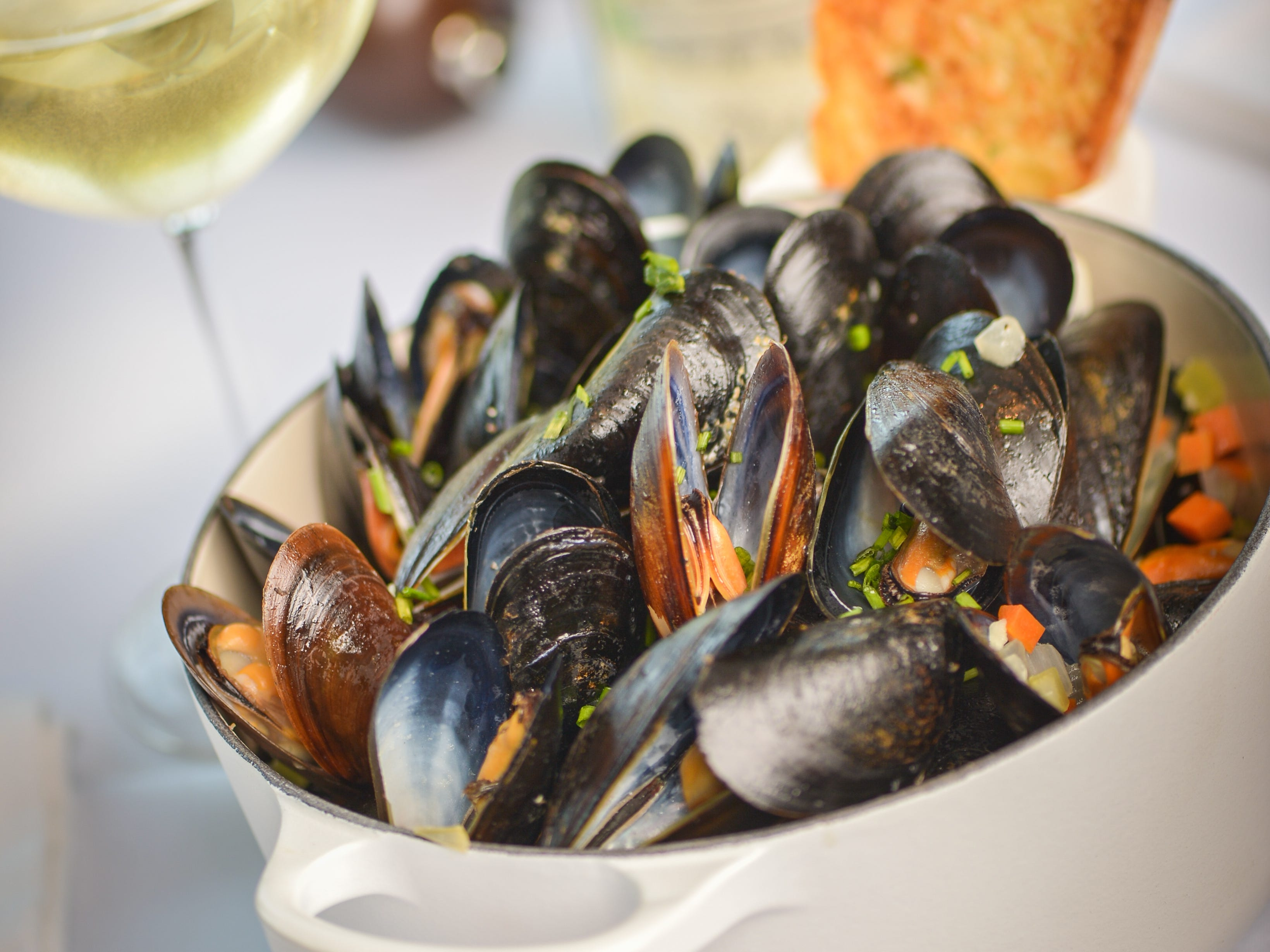 Butter and chardonnay steamed mussles at Ocean 44 in Scottsdale.