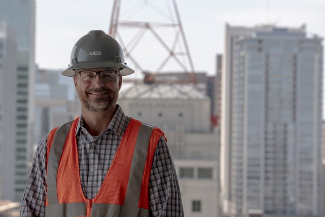 One of UEB's founders, Mark Hurst, on the 17th floor of a current UEB build on Aug, 20, 2018, in downtown Phoenix.