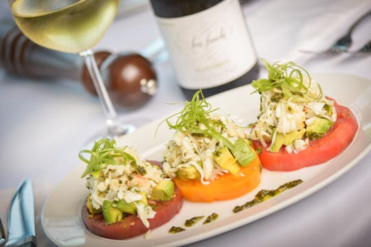 Heirloom tomato, crab and avocado stack at Ocean 44 in Scottsdale.