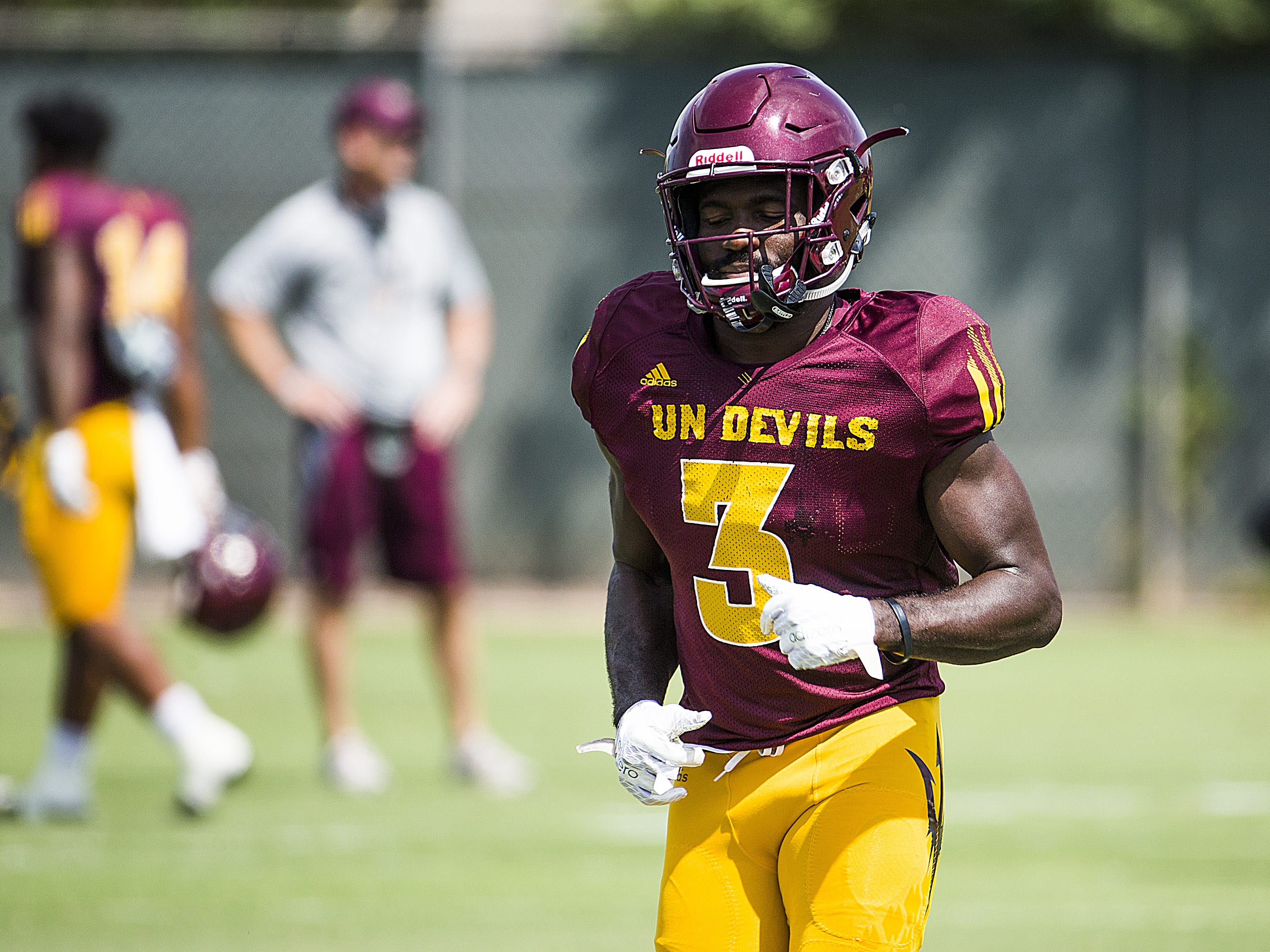Arizona State University running back Eno Benjamin runs during practice in Tempe, Tuesday, August 21, 2018.