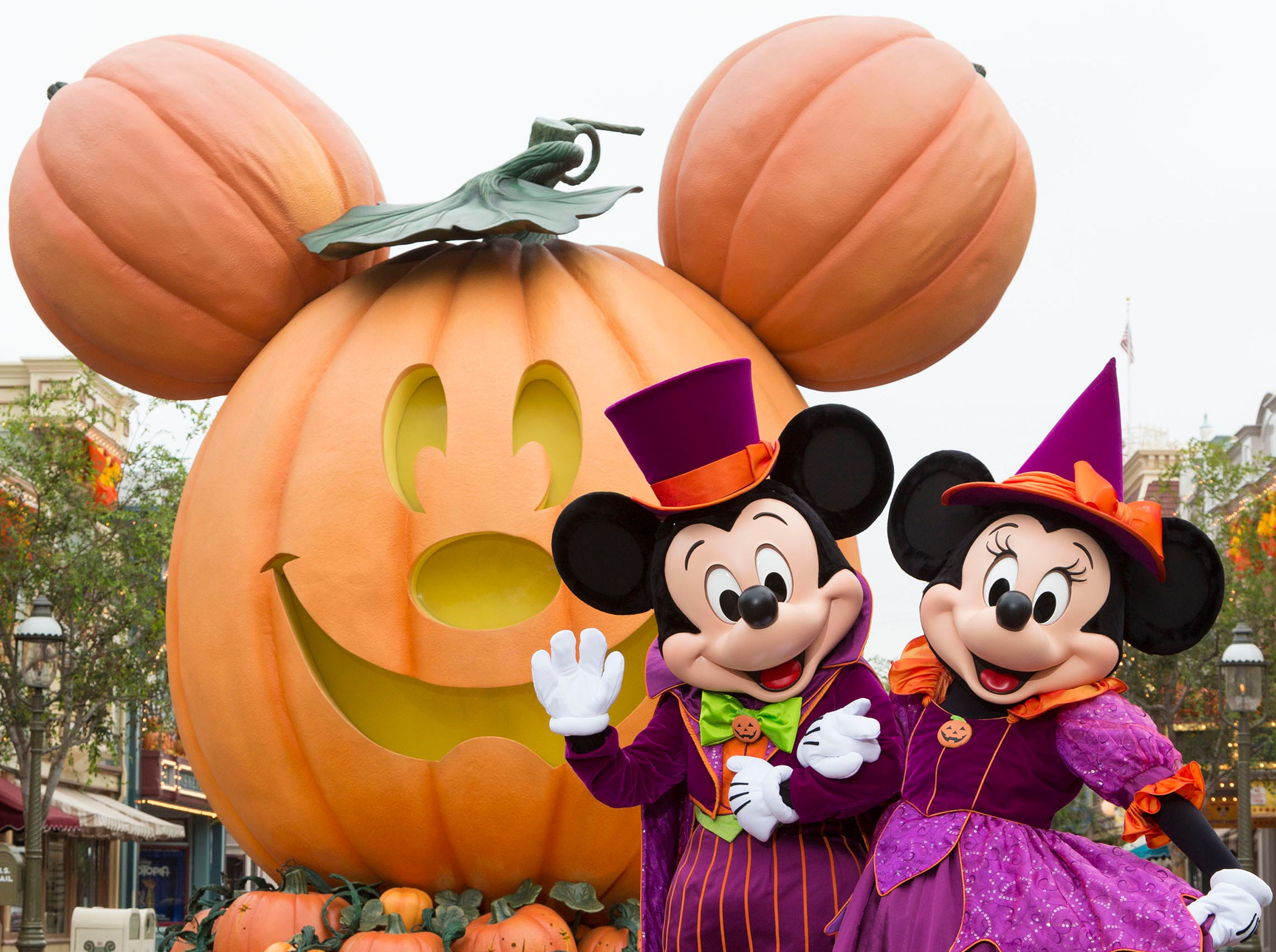 During Halloween Time at the Disneyland Resort, guests will encounter beloved characters dressed in fun seasonal costumes, including Mickey Mouse and Minnie Mouse.
