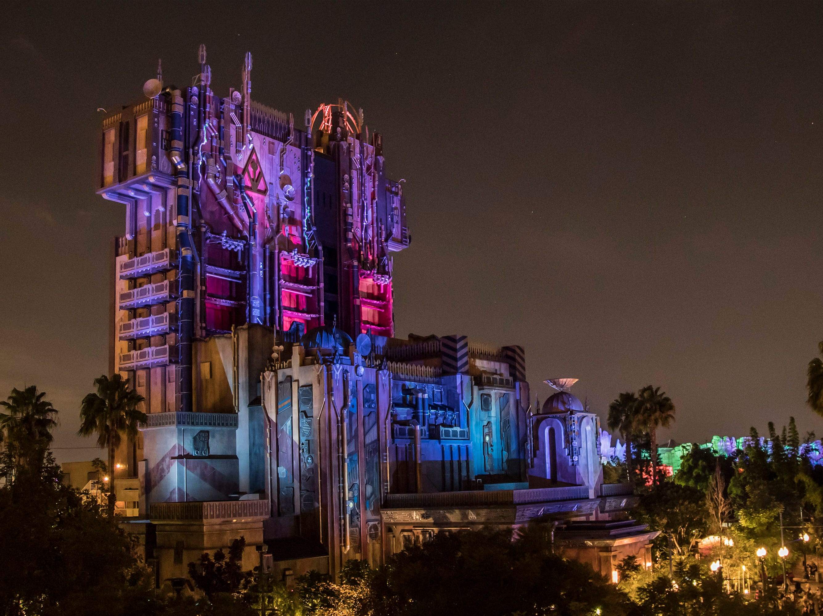 During Halloween Time at Disney California Adventure, the popular attraction transforms each evening from Mission: BREAKOUT! to Monsters After Dark. Lighting on the exterior of the Fortress alerts guests that something inside has gone awry and empty glass cages greet guests in the lobby. Guests will be tasked with helping Rocket find Groot amidst the monsters inside.