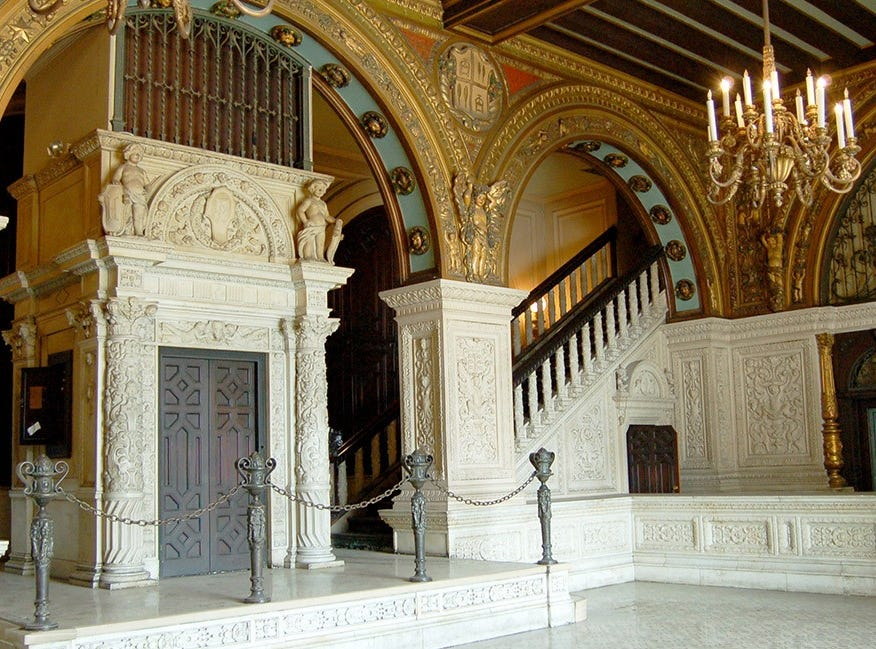 The Herald Examiner building in downtown Los Angeles features an ornate lobby, with gold and marble details. Arizona State University will be renovating the building and housing programs there.