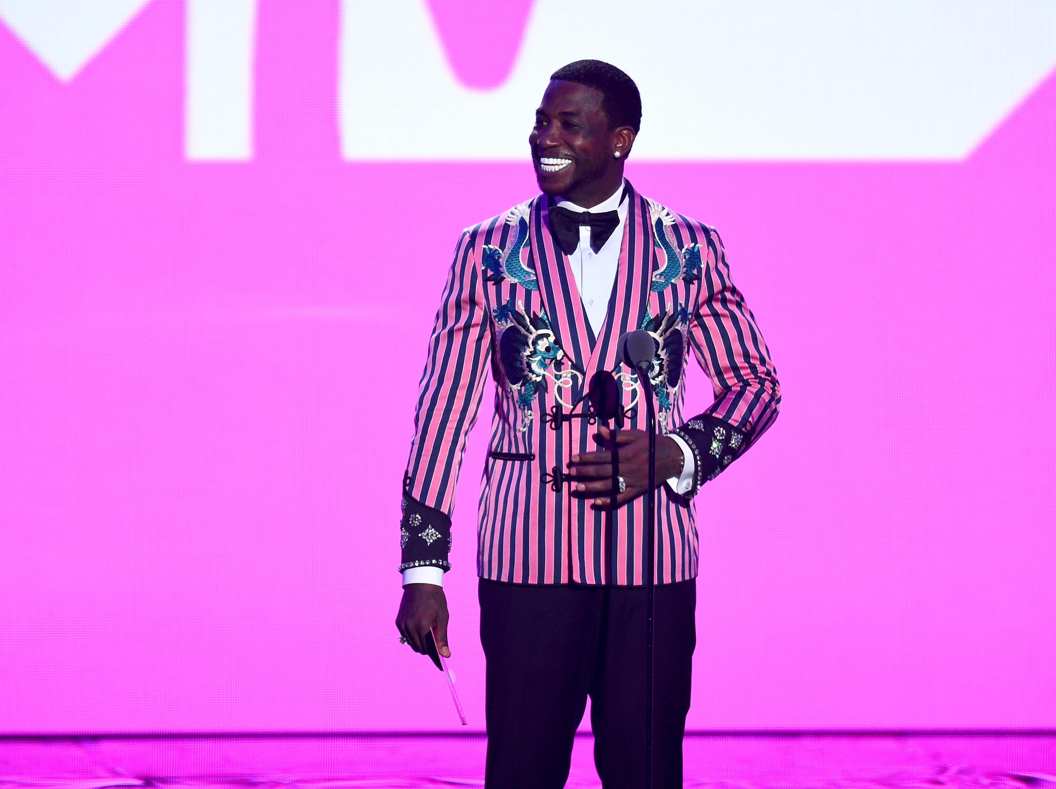 Gucci Mane habla en el escenario durante los MTV Video Music Awards 2018 en el Radio City Music Hall el 20 de agosto de 2018 en la ciudad de Nueva York.