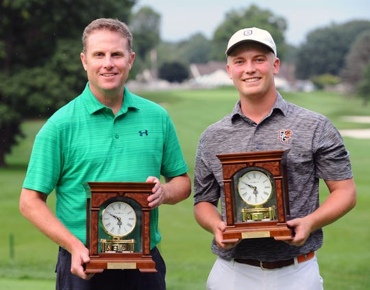 Chris Gebhard, left, and Noah Firestone won their second consecutive W.B. Sullivan Four-ball Invitational championship at the Lebanon Country Club Monday August 20, 2018.