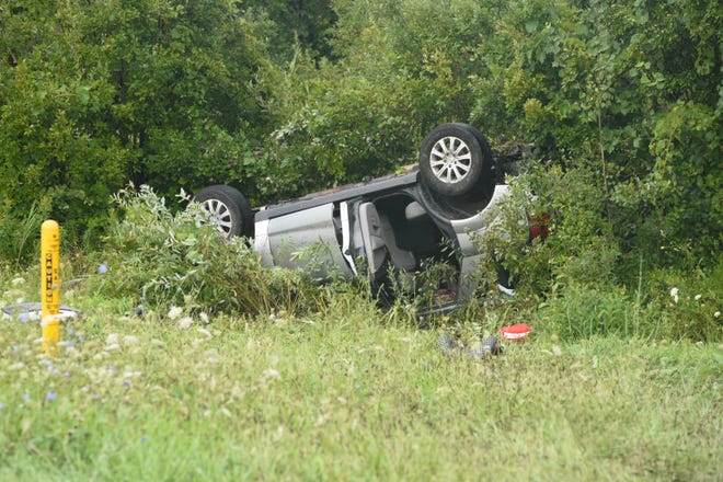 A vehicle came to a rest on its roof following a crash Tuesday morning in Marysville.