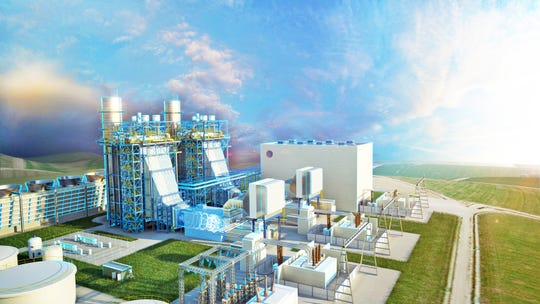 A rendering shows the $1 blllion Blue Water Energy Center to be built in East China Township.