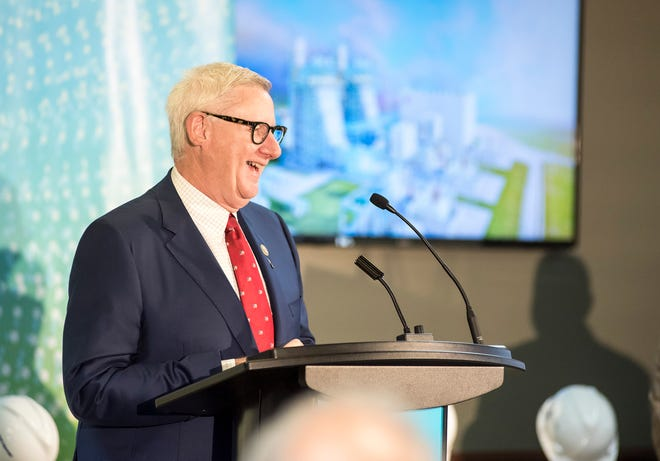 Rep. Paul Mitchell speaks Tuesday, Aug. 21, 2018, at a groundbreaking ceremony for DTE Energy's Blue Water Energy Center in China Township.