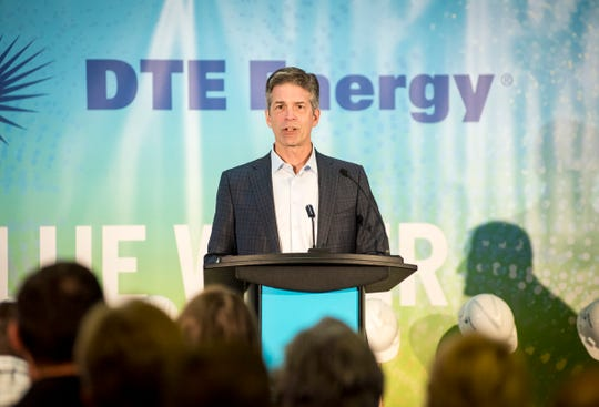 Gerry Anderson, CEO of DTE Energy, speaks Tuesday, Aug. 21, 2018, at a groundbreaking ceremony for the company's new Blue Water Energy Center in China Township. The gas-fired power plant will replace three coal-fire power plants and represents a $1 billion investment in the county.