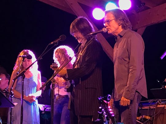 Jackson Browne, right, performs with, from left, Teresa Williams, Amy Helm and Larry Campbell of the Midnight Ramble Band, at the Dirt Farmer Festival held Aug. 19 at Arrowood Farms in Accord.