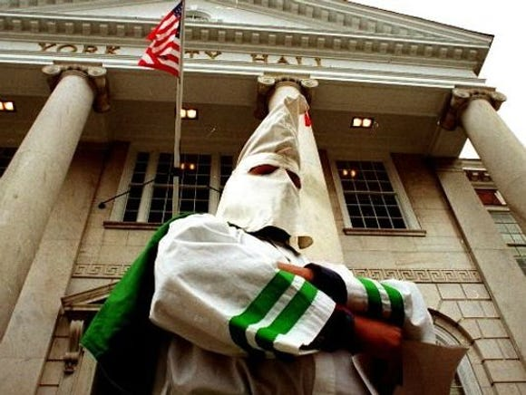 This scene of a Klansman standing on the steps of York City Hall still evokes anger years after a York Daily Record/Sunday News photographer captured the scene. But such scenes as this were common and accepted around York County - and elsewhere in Pennsylvania - in the 1920s and 1930s.