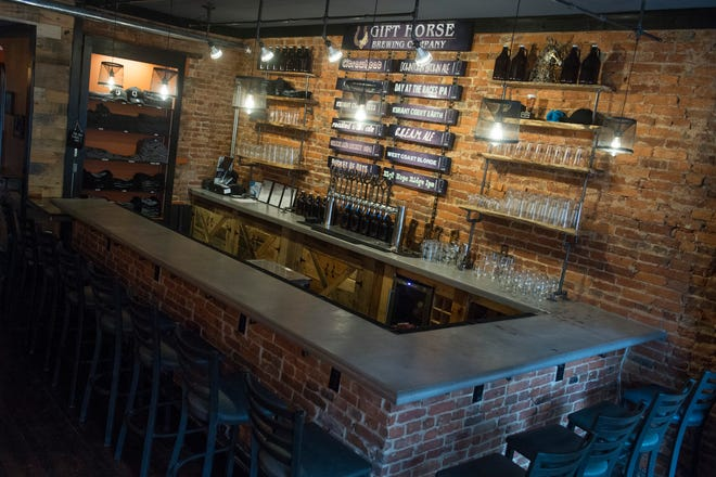 Here is a look at the bar inside Gift Horse Brewing Company in York. Bar seating is also included around the bar and in a back room.